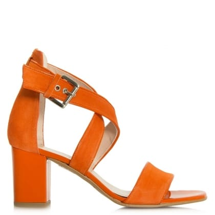 Daniel Southaven Orange Suede Block Heel Cross Strap Sandal