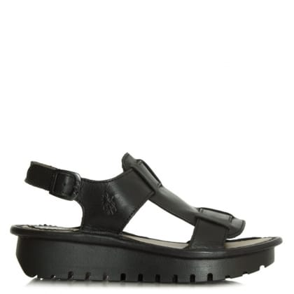 Fly London Kani Black Leather Sling Back Sandal