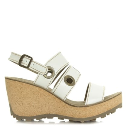 Fly London Guse White Leather High Cork Wedge
