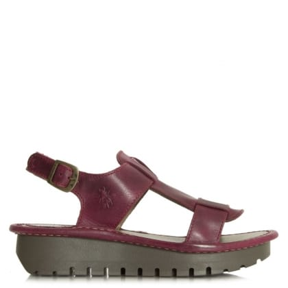 Fly London Kani Magenta Leather Sling Back Sandal