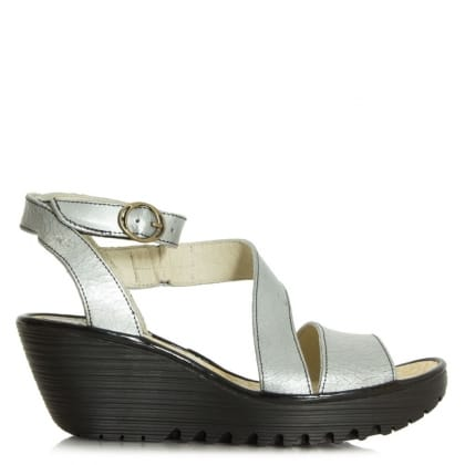 Fly London Yesk Cracked Silver Leather Wedge Sandal