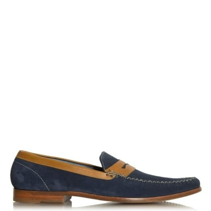 Barker William Navy Suede Slip-On Moccasin