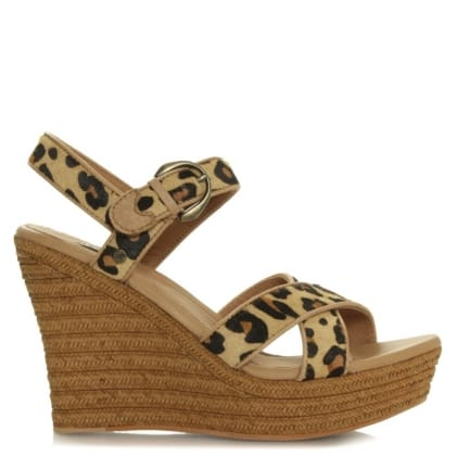 UGG Jazmine Leopard Calf Hair Wedge Sandal
