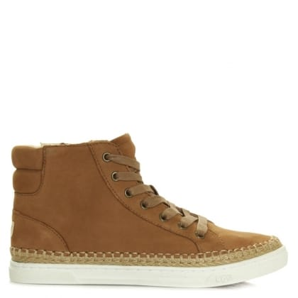 UGG Gradie Tan Nubuck Lace Up High Top Trainer