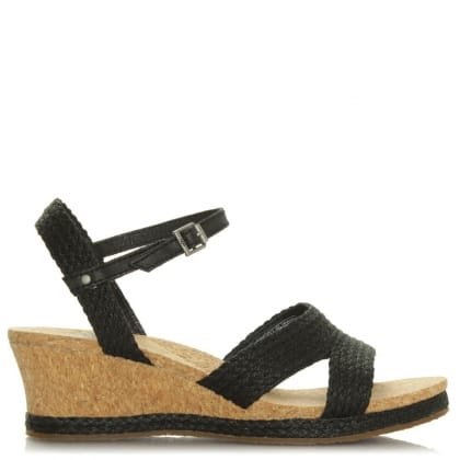 UGG Luann Black Jute Wrapped Cork Wedge