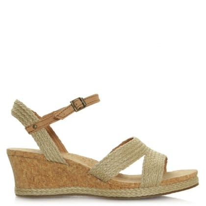 UGG Australia Luann Taupe Jute Wrapped Cork Wedge