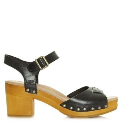 UGG Australia Janie Black Leather Strap Sandal