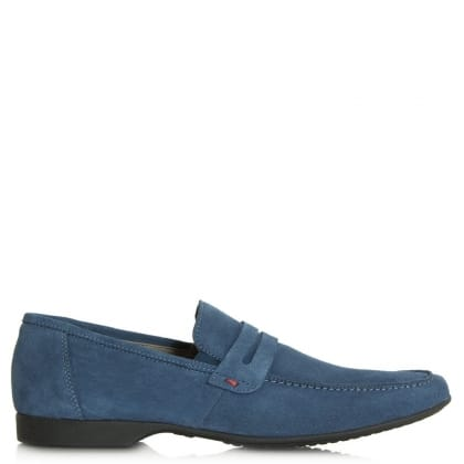 Roman Rock Rocky 100 Blue Suede Saddle Loafer