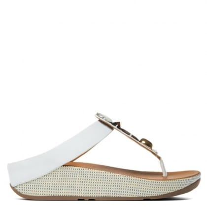 FitFlop Jeweley Toe White Leather Flip Flop