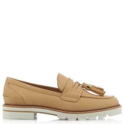 Stuart Weitzman Malina Tan Leather Platform Loafer