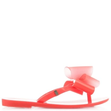 Melissa Kids Harmonic Twin Bow Fuschia Toe Post Flip Flop