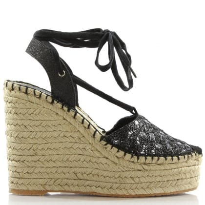 Ash Tessa Black Wedge Espadrille Sandals