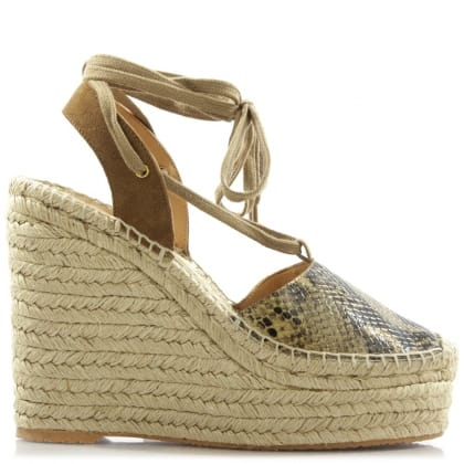 Ash Tracy Beige Reptile Wedge Espadrille Sandal
