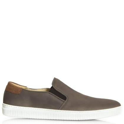 Daniel Trowbridge Grey Nubuck Sporty Slip On Pump