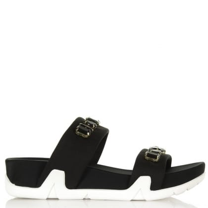 Ash Oman Black 2 Bar Jewelled Sandal