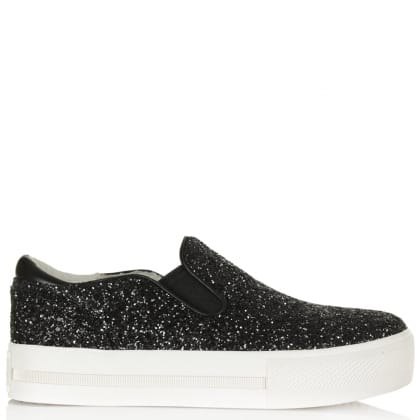Ash Jungle Black Leather Slip On Trainer