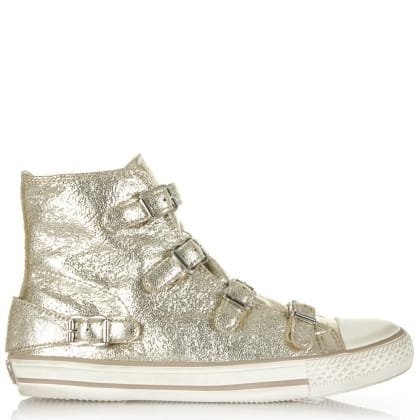 Ash Virgin Bis Gold Metallic Leather Buckled High Top Trainer