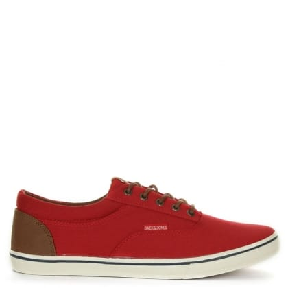 Jack & Jones Vision Red Canvas Lace Up Trainer