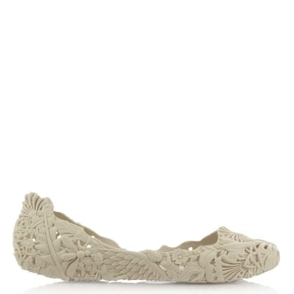 Melissa Campana Barroca White Floral Cut Out Pump