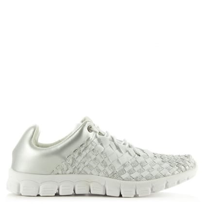 Daniel Hollywood Hills Silver Metallic Woven Elastic Trainer