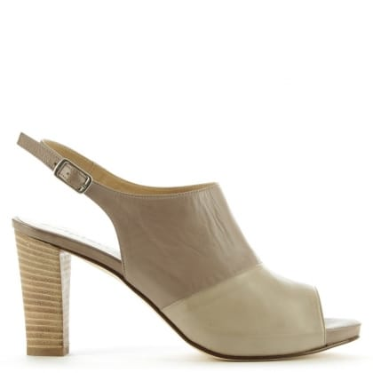 Calpierre Wymore Taupe Leather Peep Toe Sling Back Heel