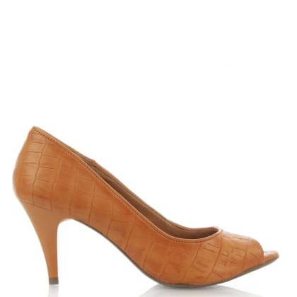 Via Uno Tan Reptile Peep Toe Court Shoe