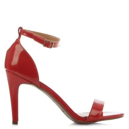 Via Uno Red Patent Ankle Strap Heeled Sandal