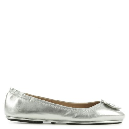 Tory Burch Minnie Travel Silver Leather Ballet Pump