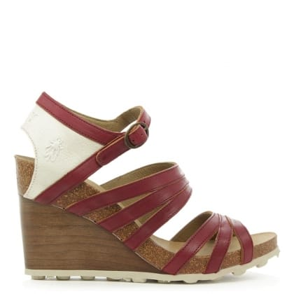 Fly London Anke Burgundy Leather High Wooden Wedge Sandal