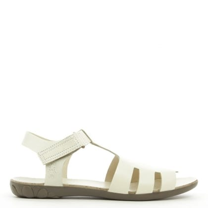 Fly London Fely White Leather High Fronted Sandal