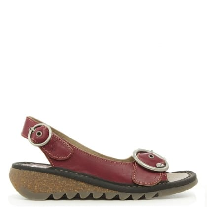 Fly London Burgundy Leather Tram Sandal