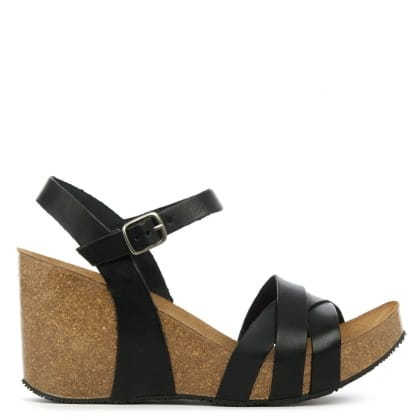 Daniel Beverlywood Black Leather Strappy High Wedge Sandal