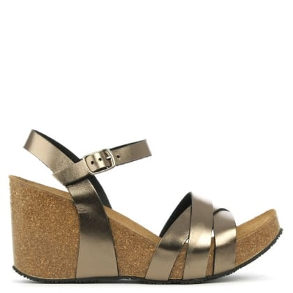 Daniel Beverlywood Bronze Leather Strappy High Wedge Sandal