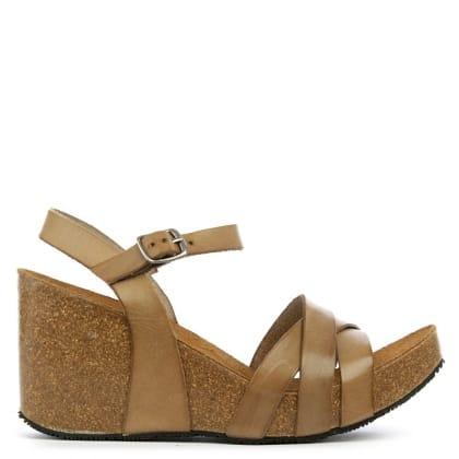 Daniel Beverlywood Taupe Leather Strappy High Wedge Sandal