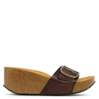 Daniel Roswell Brown Leather Open Toe Mid Wedge Mule