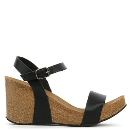 DF By Daniel Ryther Black Leather Corked Wedge Sandal