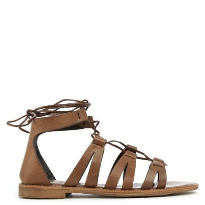Daniel Honey Brook Brown Leather Gladiator Sandal