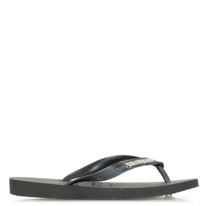Havaianas Black Top Metallic Logo Flip Flop Sandals