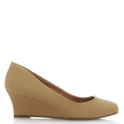 Via Uno Beige Closed Toe Low Wedge Pump