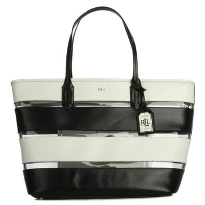 Lauren by Ralph Lauren Tate Stripe Black & White Classic Tote