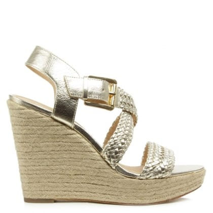 Michael Kors Giovanna Gold Leather Woven Wedge Sandal