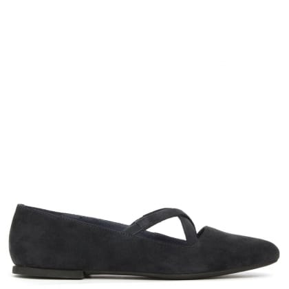 Camper Isadora Navy Suede Cross Over Strap Ballet Pump
