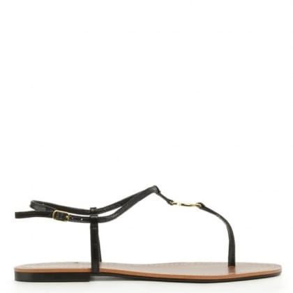 Lauren by Ralph Lauren Aimon Toe Black Patent Toe Post Flat Sandal