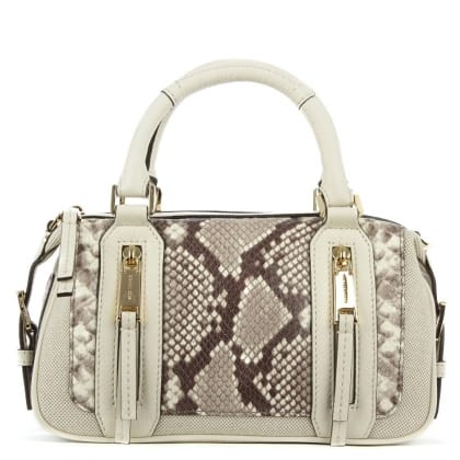 Michael Kors Julia Small Ecru Reptile Leather Satchel