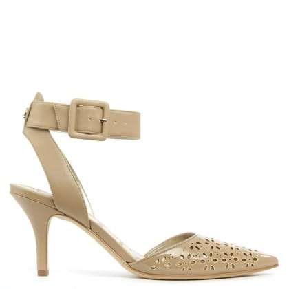 Sam Edelman Odynna Nude Patent Perforated Ankle Strap Court