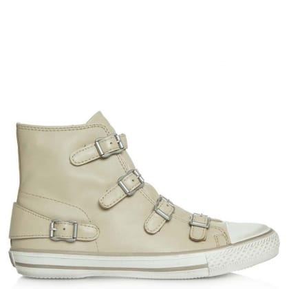 Ash Virgin Bis Beige Leather High Top Trainer