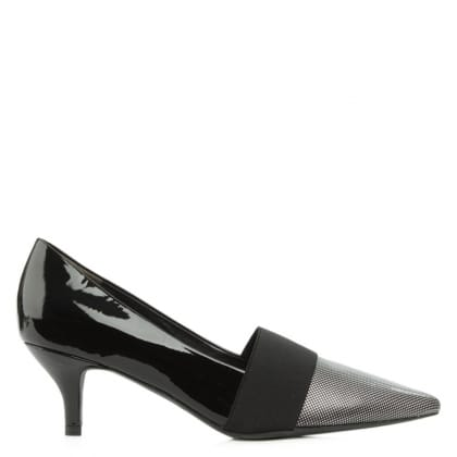 Kennel & Schmenger Vedell Black Patent Leather Kitten Heel Court Shoe