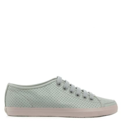 Camper Motel Grey Leather Perforated Lace Up Trainer