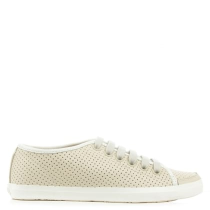 Camper Motel Beige Leather Perforated Lace Up Trainer