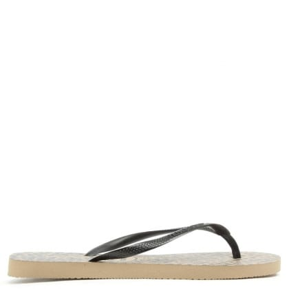 Havaianas Animals Gold Leopard Print Toe Post Sandal